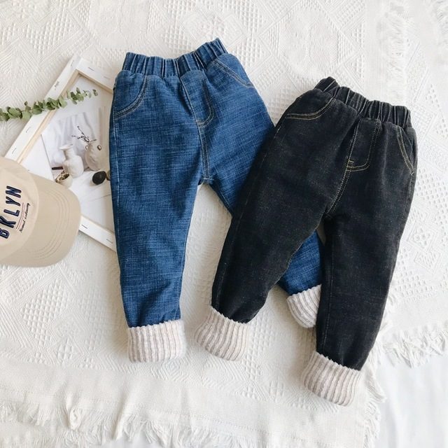 de1d2f222f9b New Winter Kids Jeans Pants Casual Girls Leggings Warm AnkleTrousers 2018  Fashion Patchwork Toddler Baby Boys