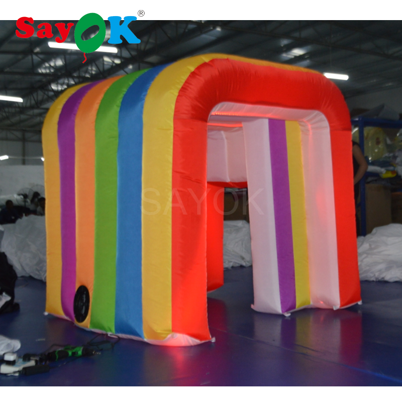 New Design Led Rainbow Photo Booth Shell Inflatable Photo Booth Enclosure Photo Booth Tent Party for KidsNew Design Led Rainbow Photo Booth Shell Inflatable Photo Booth Enclosure Photo Booth Tent Party for Kids