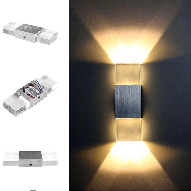 Дома Семья Спальня стены Освещение 110 В 220 В 6 Вт LED Алюминий акрил Ванная комната Свет Современный Простой настенный светильник