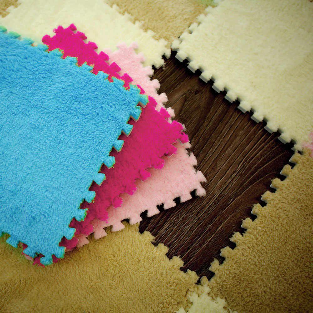 25X25 см меховой коврик пенистый коврик в форме пазла EVA лохматый бархатный Детский эко пол детские коврики игрушки ковер для детей 7 цветов