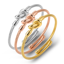 Fashion Open Tie Knot Cuff Bracelet Bangles For Women Brief Gold Color Personalized Charms Bracelet Valentines Gift цена 2017
