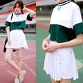 Harajuku растениеводство топ 2017 корейский стиль костюм женщины набор лето kawaii бейсбол цвет заклинание рубашка + юбка в складку 2 шт. набор женщин