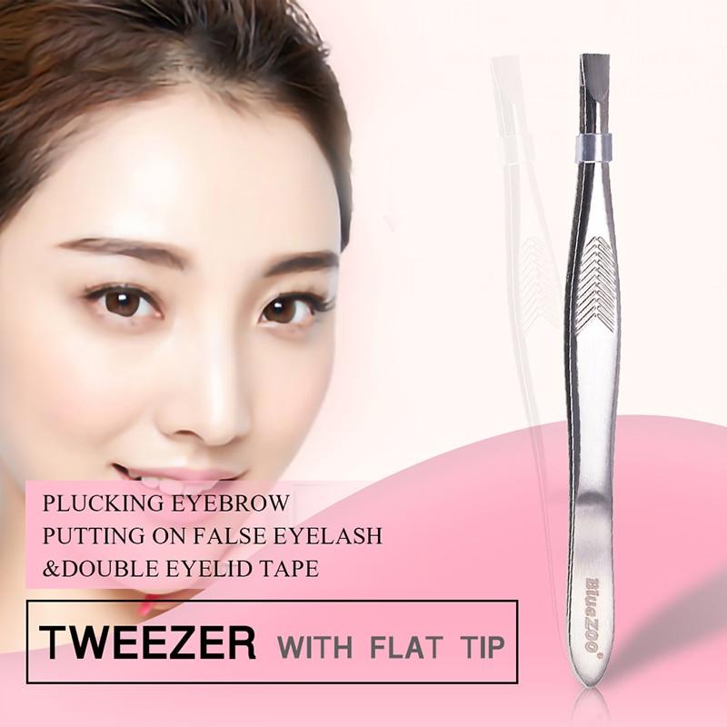 1Pcs Non-slip Makeup Remover Tweezer Precision Slant Eyebrow Tweezers Tools Stainless Steel Face Hair Eyebrow Tweezers