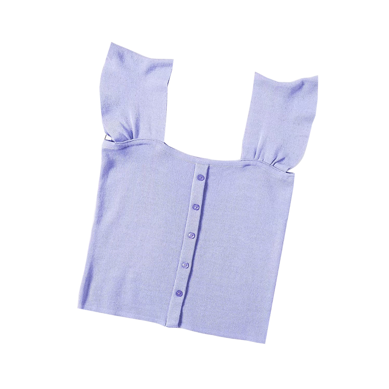 Tank-Top Bustier Short-Length Knitting Ruffles Casual Women Solid Slim All-Matched