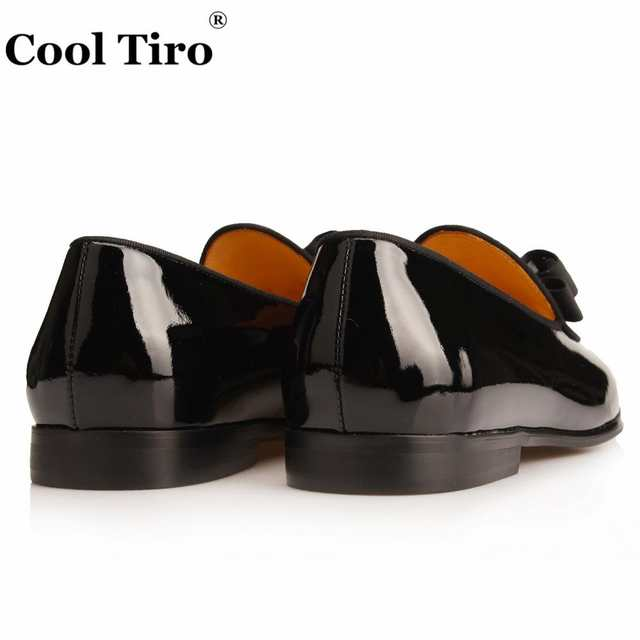 b82c9747bb4db Cool Tiro Black Suede Loafers Patent leather Men Slippers Bow Tie Moccasins  Man Flats Wedding Men's Dress Shoes Casual Shoes-in Men's Casual Shoes from  ...