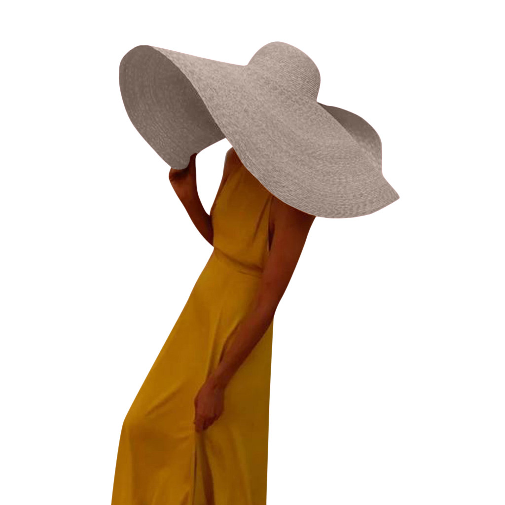 Women Ladies Large Sun Hats Vintage Wide Brim Straw Hat Elegant Flat Floppy Sun Caps Beach Casual Hats #LR2