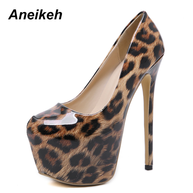 c54f11fd093 Aneikeh Women Shoes Gladiator Pumps High Heel Pointed Leopard Leather  Spring Autumn Party Platform Sexy Pumps Wedding Shoe