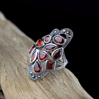 S925 Silver Jewelry Thai Silver Seiko Ms. Pavement Pomegranate Red Ring