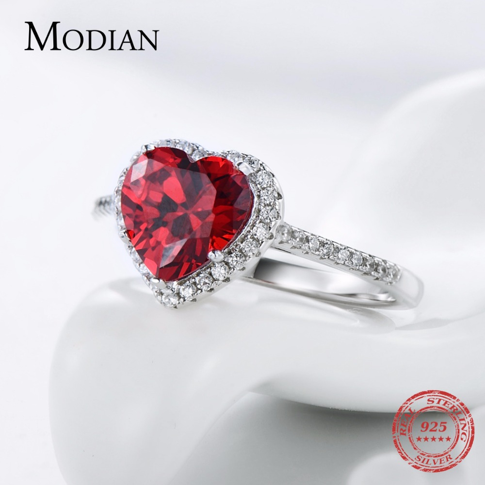 Modian 100% Prawdziwa 925 Sterling Silver Red Heart Pierścień 5A CZ - Modna biżuteria - Zdjęcie 4