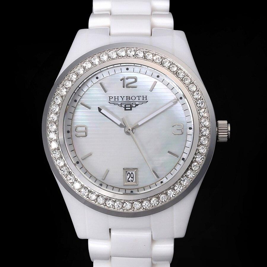 new women s fashion watch ceramic clock Phyboth PB1426 1472 Japanese quartz movement wrist watch free