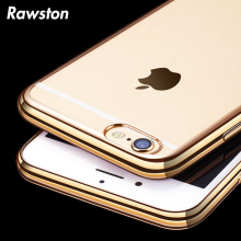 Luxury Electroplating Chrome Transparent Cover Case for Coque iPhone 8 7 6s 6 Plus 5s SE  Clear Brass Golden Plated Edges