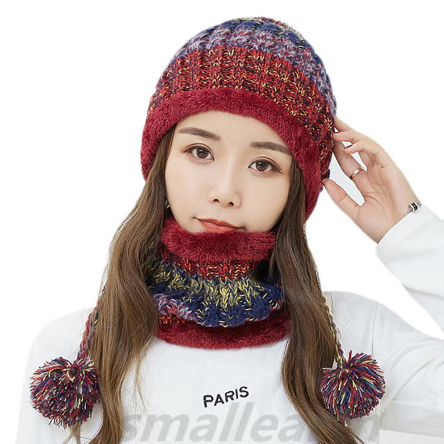 73a5c206 US $14.29  Winter Women Knitted Hat Scarf 2Pcs Set Fashion Thickening Hat  Beanies Collars Female Warm Hat Scarf Set Snow Caps Mask Gorros-in Skullies  ...