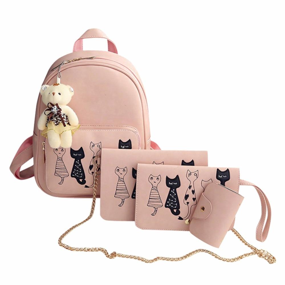 Mojoyce 4Pcs Cat Printed Backpack Set Women PU Leather Backpacks Shoulder Bag Lady Simple Pink Clutch Purse Bag Travel Rucksack