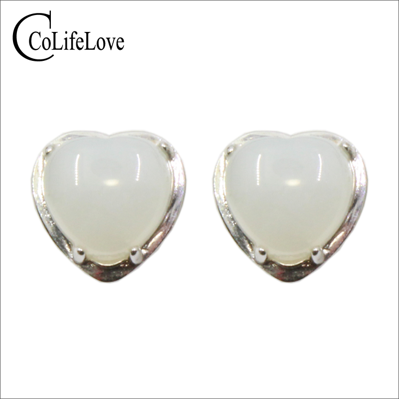 Us 15 6 35 Off Colife Jewelry 925 Silver White Jade Stud Earrings 6mm Heart Shape Natural Sterling In