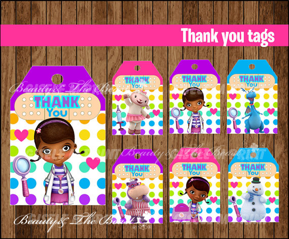 Doc Mcstuffins Favor Tags Thank You Gift Favors Birthday Party Decorations Kids Supplies