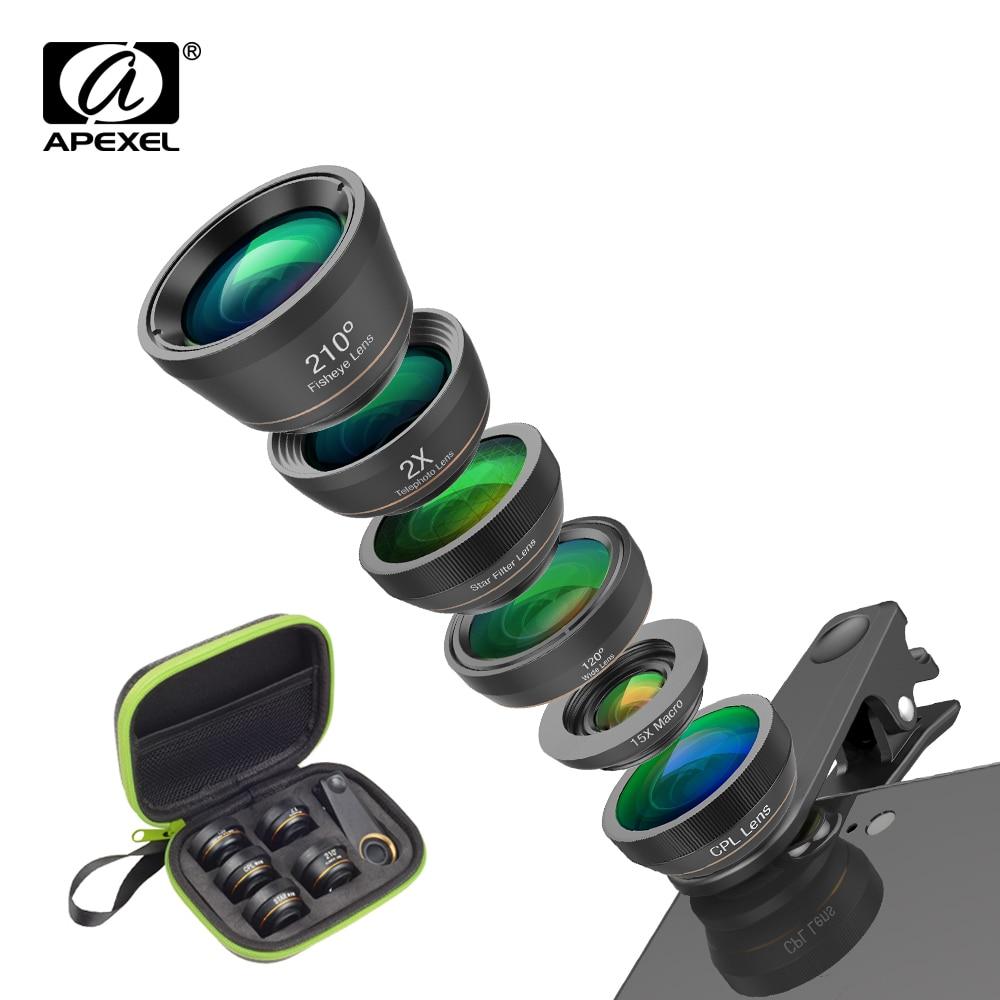 APEXEL Universal 6 in 1 Telefon Kamera Objektiv Fisch Auge Weitwinkel makro Objektiv CPL/Sterne Filter 2X tele für fast alle smartphones