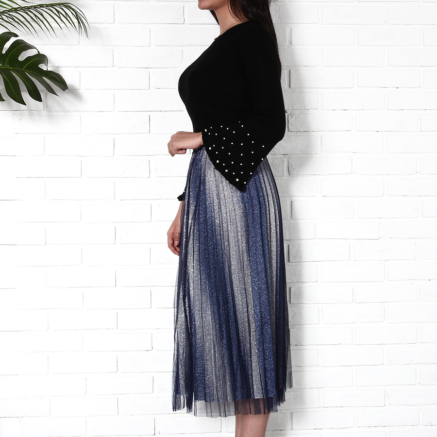 fe7e2bc3f2 Striped Mesh Women Skirt 2018 Summer Autumn Fashion High Waist Midi Skirts  Ladies Pleated Long Skirt Streetwear Faldas Mujer-in Skirts from Women's  Clothing ...