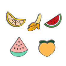 Womens Girls Cartoon Enamel Lapel Pins Set Cute Patches Fruit WaterMelon Banana Peach Lemon Pins Badge for Clothings