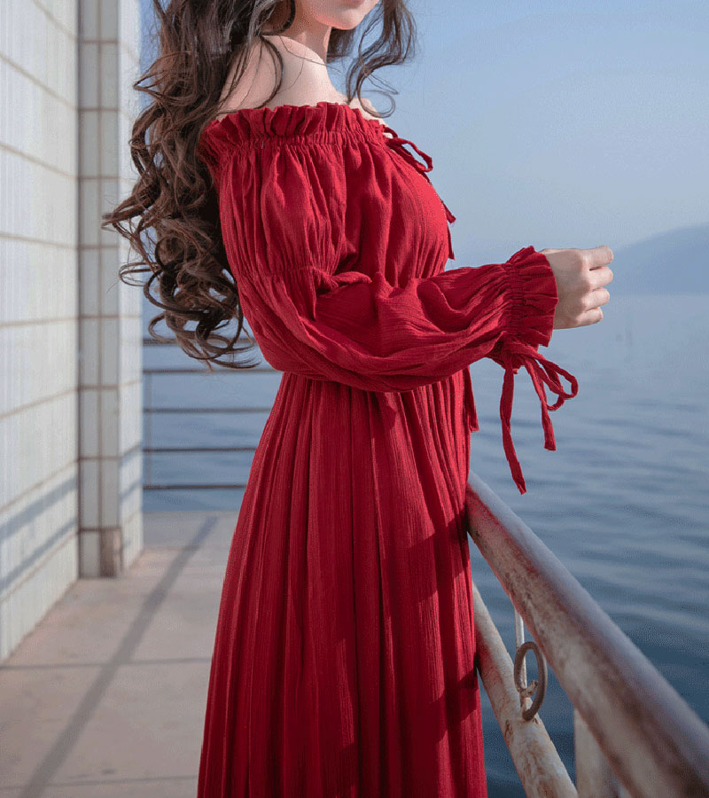 PERHAPS U red strapless long puff sleeve maxi long dress solid off shoulder loose D0526 5