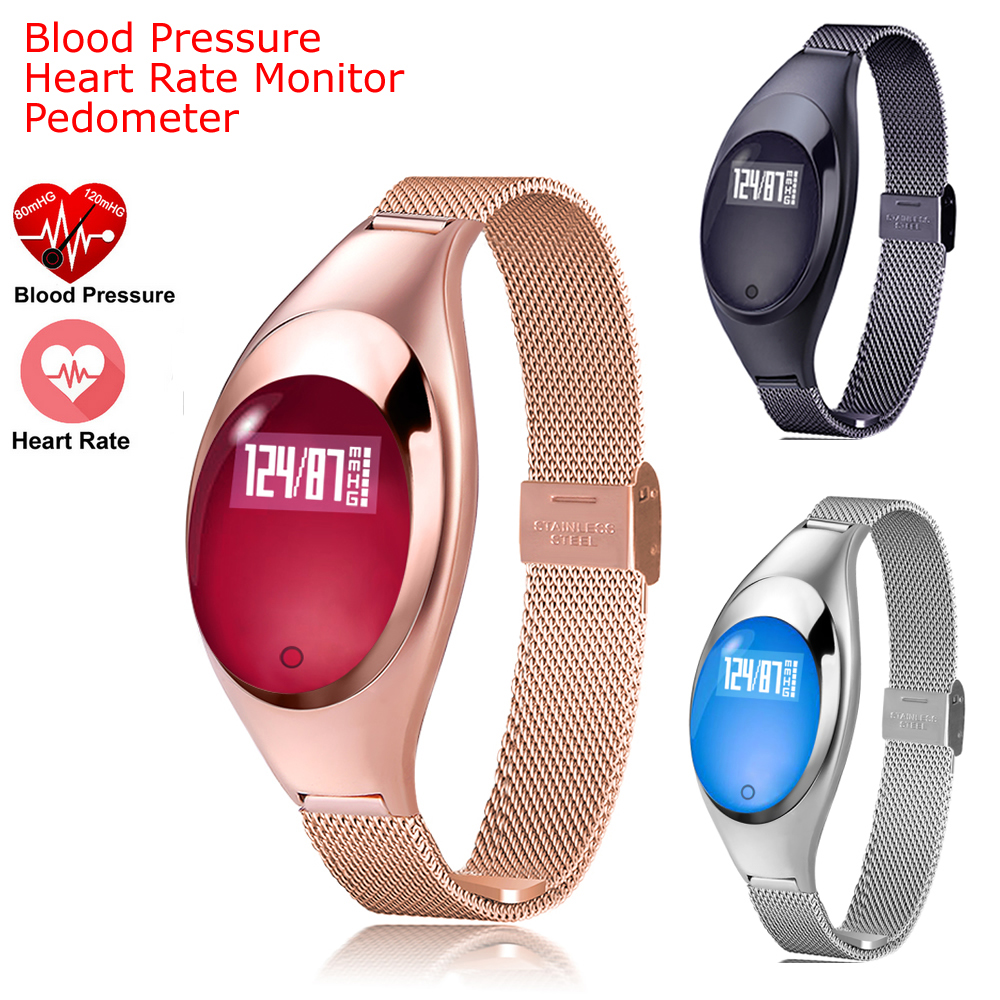 Z18 font b Smart b font band Blood Pressure Heart Rate Monitor Pedometer bluetooth wristband For