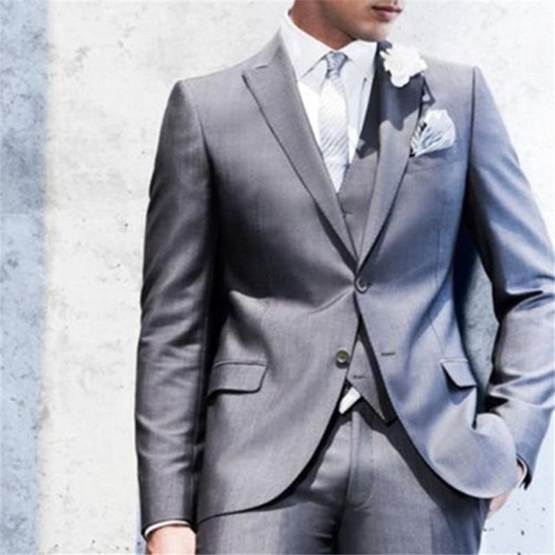 Custom Made Light Grey Mens Suits 2017 Elegante Bruiloft Pakken Voor Mannen Slim Fit grijs Bruidegom mannen Smoking (jas + Broek + Vest + Tie)
