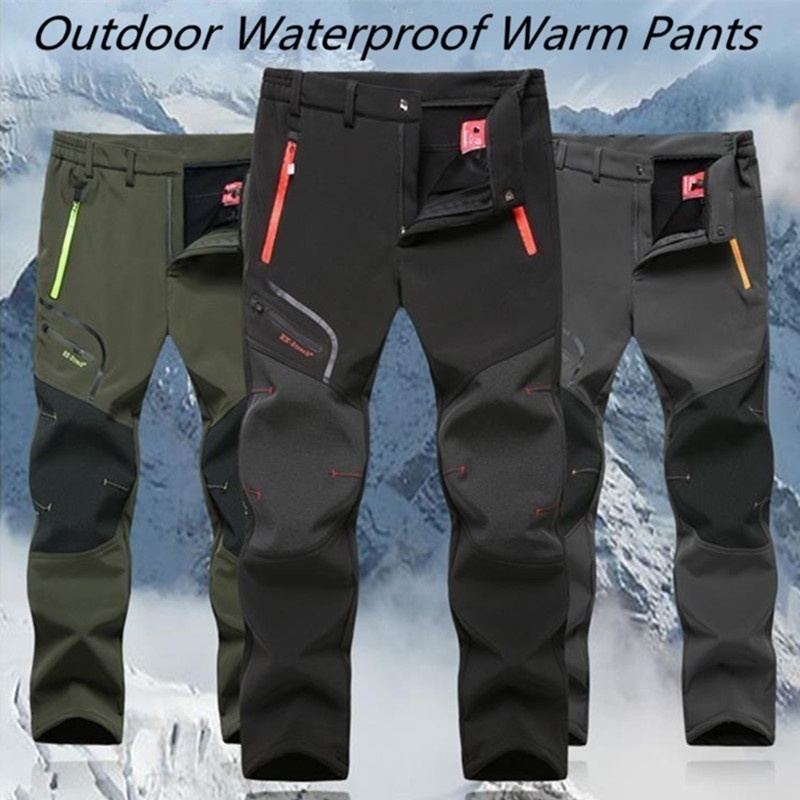 ZOGAA Men's Outdoor Thick Waterproof Hiking Trousers Camping Climbing Fishing Skiing Softshell Fleece Pants