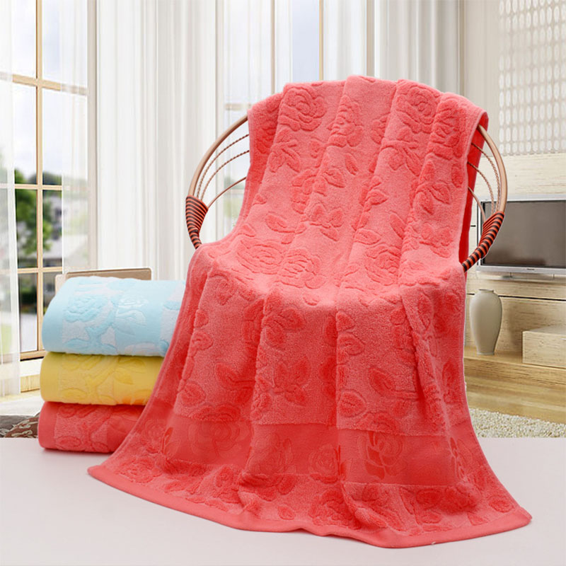 Simanfei Towel 2017 New Arrival Bamboo Fiber Rose Floral Printed Bath Towels Super Soft Absorbent Quick