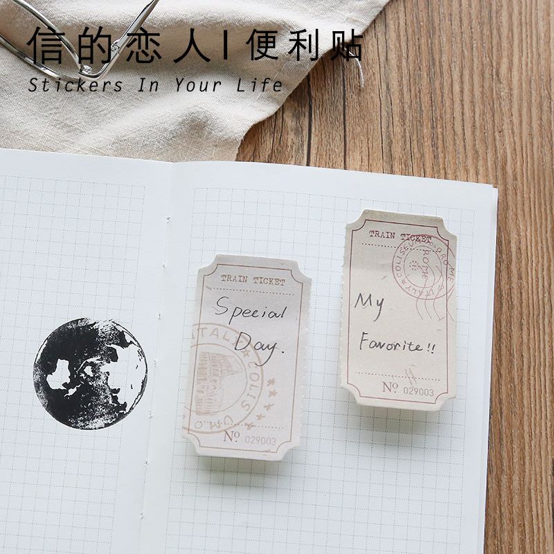 4packs/lot Retro Tickets Sticky Notes Vintage Paper Bookmark Post It Notes Diary Srcapbooking Stickers Memo Pads Stationery