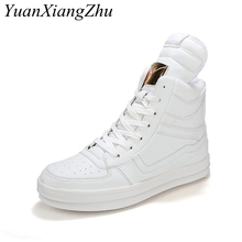 White Men High Top Shoes Mens Shoes Casual Lace-up Ankle Boots 2019 Fashion Quality Leather Boots Men Sneakers Plus Size 39-45