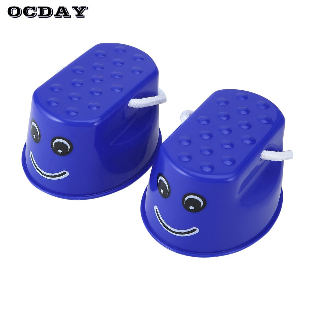 OCDAY 1 pc Funny Plastic Children Kids Outdoor Fun Walk Stilt Jump Smile Face Pattern Sports Balance Training Toys For Gift