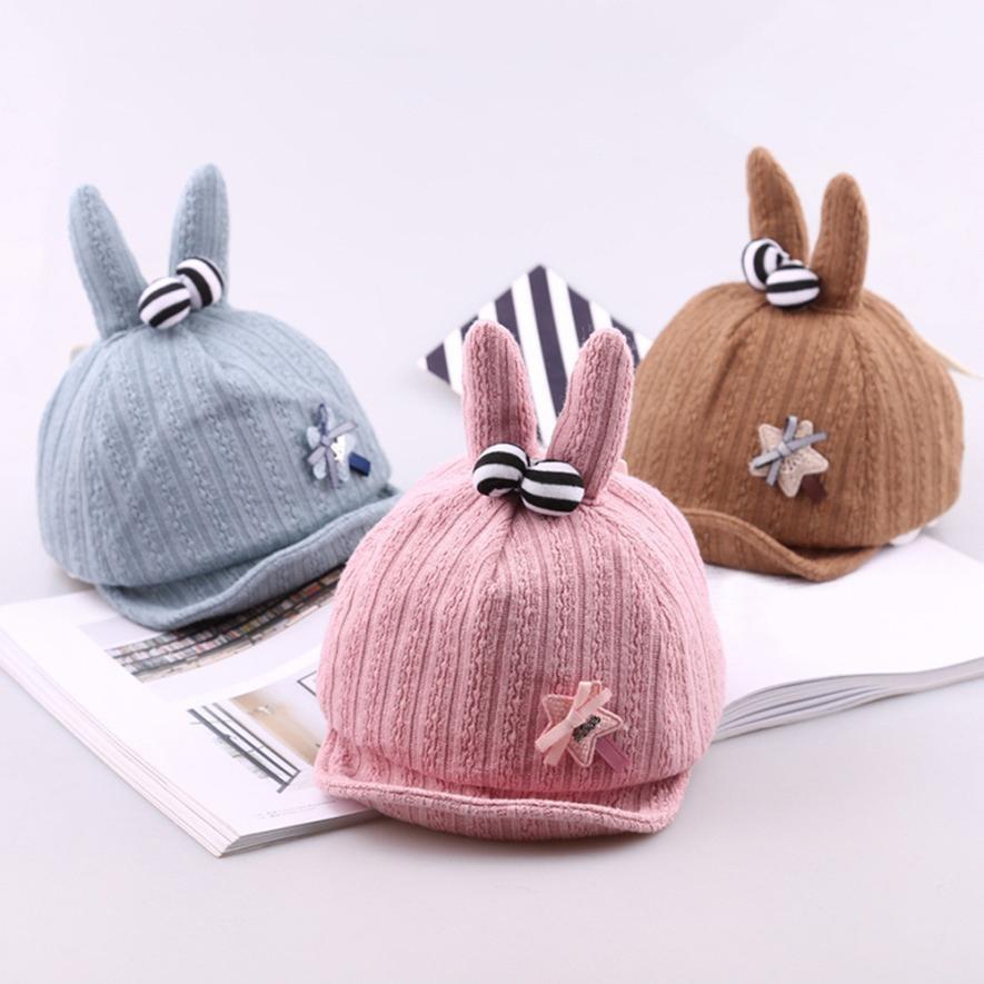 Accessories Girls' Clothing Dashing 2018 New Arrival Cute Baby Boys Girls Star Rabbit Ears Soft Brim Hat Bongrace Hat Peak Cap Dropshipping/wholesale 20