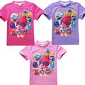 Trolls Camisetas Para Niñas Tops de Verano Camisa de Manga Corta Niños Ruffle Camisetas Raglán Monya Adolescente Ropa Super Barato
