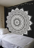 WARM TOUR Home Decor Wall Tapestry Mandala Floral Art Hanging Tapestry Black and White Blue Indian Boho Wall Carpet Sheet Europe