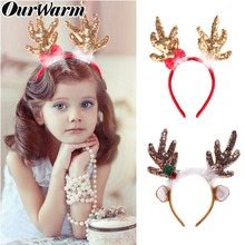OurWarm Antlers Christmas Headband Merry Ornaments Party Decorations Sequin Feather Reindeer Antler