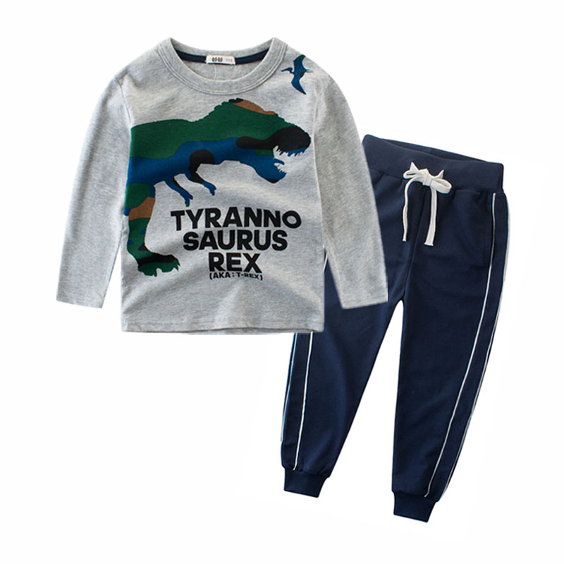 2018 Kids Clothes Sets for Boys Long Sleeve Dinosaur Kids T shirt and Pants Set 4 5 6 7 8 9 10 11 12 Years Kids Boy Set Children kids clothes boys 4 5 6 7 8 9 10 11 12 years washed denim shorts short sleeve t shirt summer casual children clothing set boy
