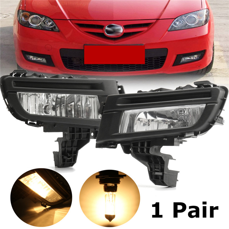 1 Pcs Front Fog Light Lamp 12V 51W Front Left + Right Side Replacement For Mazda 3 2007 2008 2009 Car Accessories beler new high quality abs plastic new front left fog light lamp 9006 12v 51w replacement ma2592113 for mazda 3 2007 2008 2009