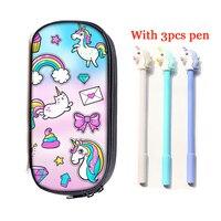 Unicorn Pencil Bag 3PCS Pen Girls Cute Pencil Box Double Zipper Cosmetic Case Student Kids Stationery Pouch School Supplies Gift