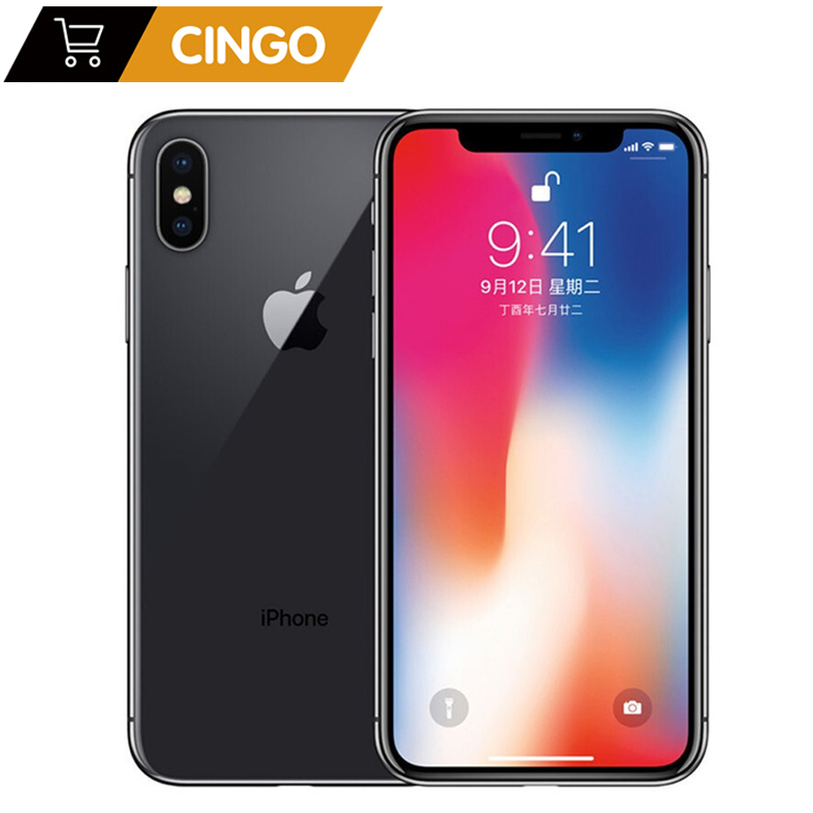 Apple original iphone x face id 64gb/256gb rom 3gb ram 12mp hexa núcleo ios a11 5.8 polegada câmera traseira dupla 4g lte desbloquear iphone x 1