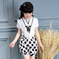 Free shipping 2017 new fashion children clothing set dot lace chiffon V-neck kid children baby girl clothes set for 4-12