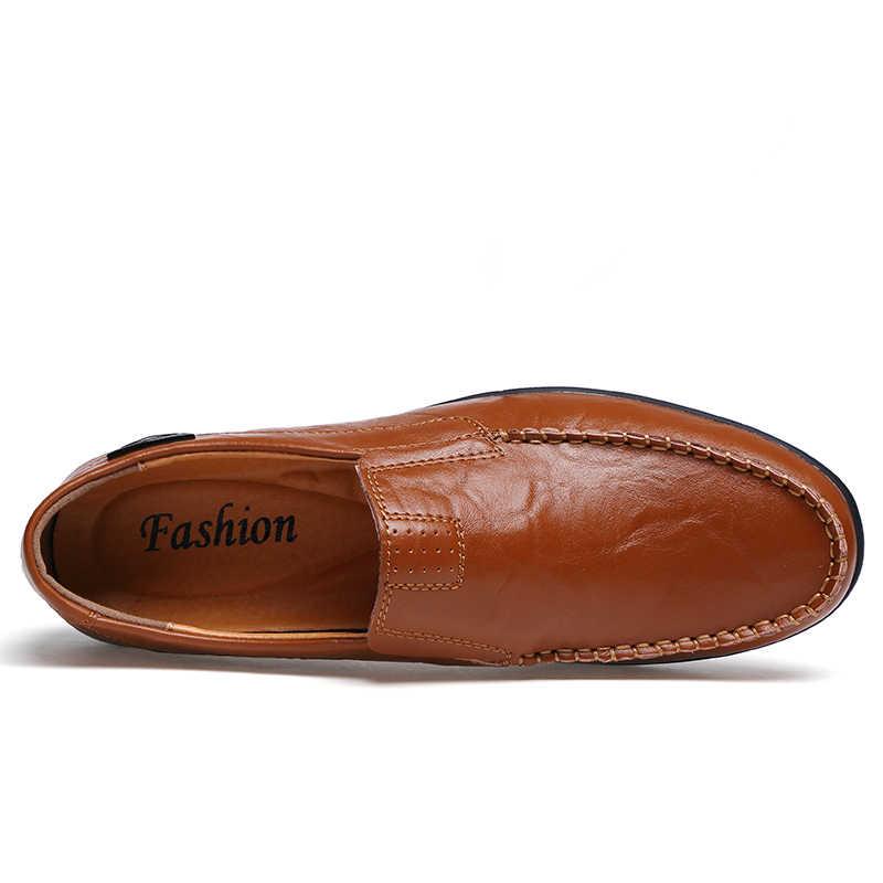 Echt Leer Mannen Casual Schoenen Luxe Merk Mode Heren Instappers Mocassins Slip op Bruin Zwart Rijden Schoenen Maat 47 WF105