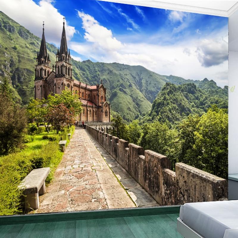 Berkualitas Tinggi 3D Foto Wallpaper Pemandangan Alam TV Sofa Latar Belakang Seamless Kertas Dinding Ruang Tamu