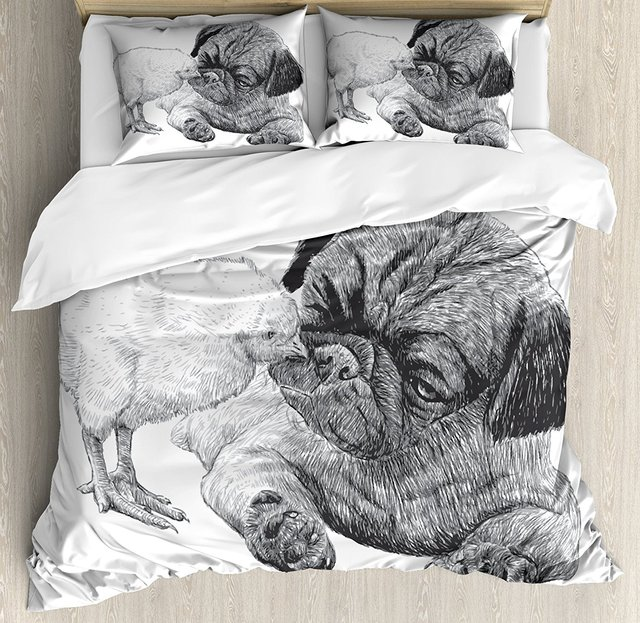 Pug Duvet Cover Set Picture Of A Pug And Little Chick Drawn By Hand