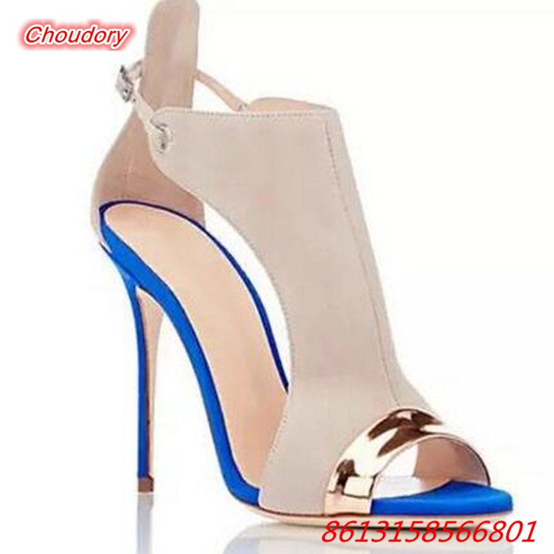 Super High Heels font b Women b font Sandals Peep Toe Mixed Color Fashion Thin Heels