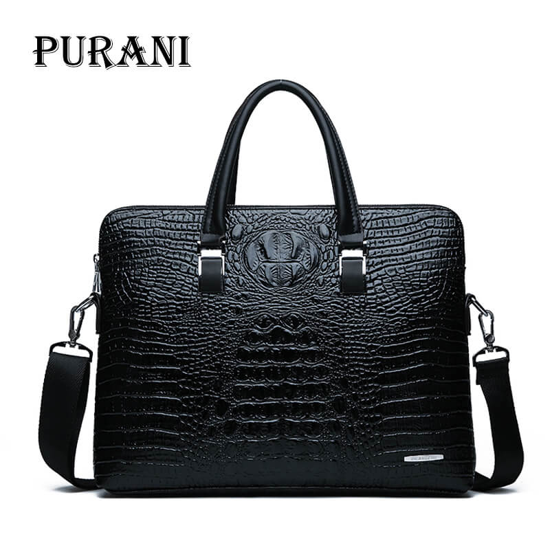 Men Briefcases Leather Crocodile Pattern Messenger Shoulder Bag Handbags Male Business Brand Briefcases Casual Men Laptop Bag