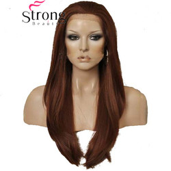 StrongBeauty Lace Front Long Straight Auburn/Copper Red High Heat Fiber Synthetic Wig COLOUR CHOICES