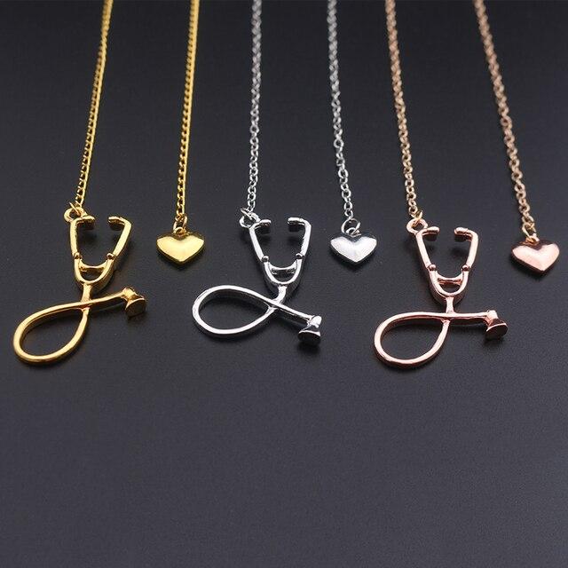 Best Zinc Alloy Stethoscope Heart Necklace Cheap