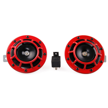 Red 2pcs 12v 110dB Super Loud Compact Electric Air Blast Tone Horn For Motorcycle And Car