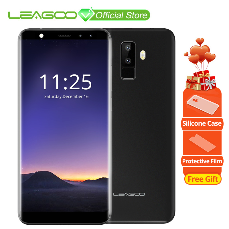 LEAGOO M9 3G Smartphone 5.5″ 18:9 Full Screen Four-Cams Android 7.0 MT6580A Quad Core 2GB+16GB 2850mAh Fingerprint Mobile Phone