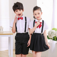 Children's suit 2018 new style summer children's recital chorus costumes bib suit boys and girls performance clothing suit
