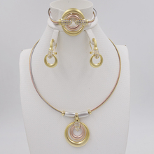 Crystal Anchors Jewelry Sets Fine African Beads Necklace Bangle Earring Rings Set Wedding Gold Color Bridal